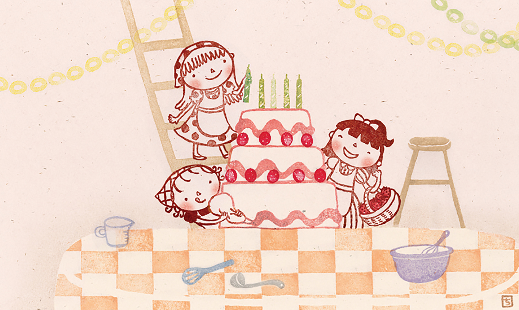 Three Little Girls and a Cake